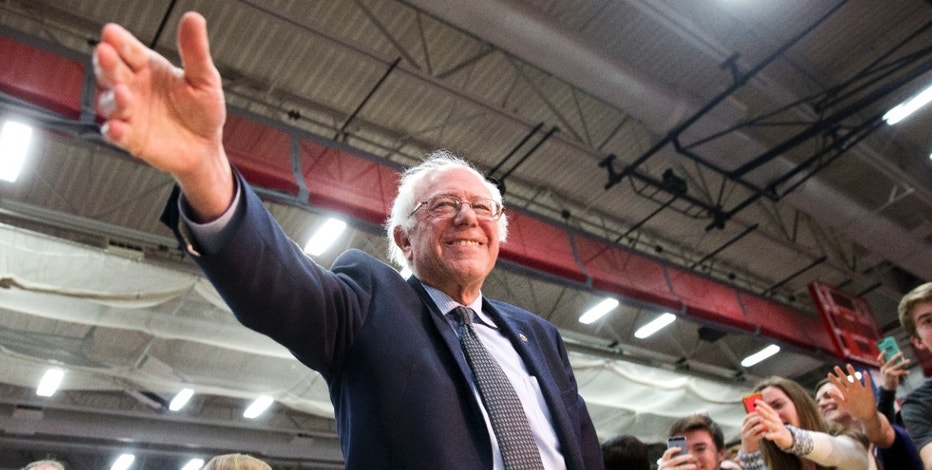 Democratic presidential candidate Sen. Bernie Sanders, I-Vt., greets supporters during a campaign rally at Milton High School in Milton, Mass., Monday, Feb. 29, 2016. (AP Photo/Jacquelyn Martin)