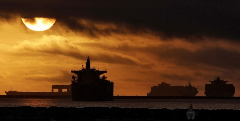 Anchored container ships and with other vessels sit offshore near the ports of Los Angeles and Long Beach in Los Angeles, California December 2, 2012.   REUTERS/Jonathan Alcorn/File Photo