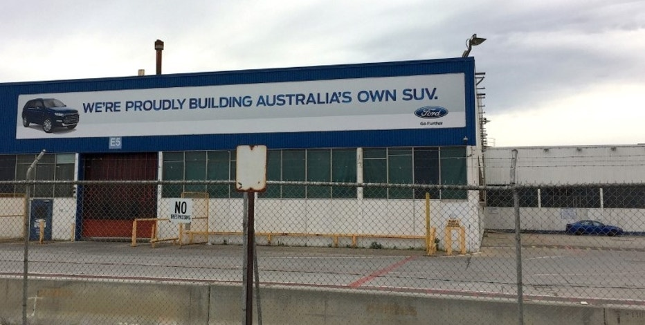 A promotional sign adorns the side of the Ford Motor company's Broadmeadows Assembly Plant in the Melbourne suburb of Campbellfield, Australia, October 7, 2016.       REUTERS/Sonali Paul