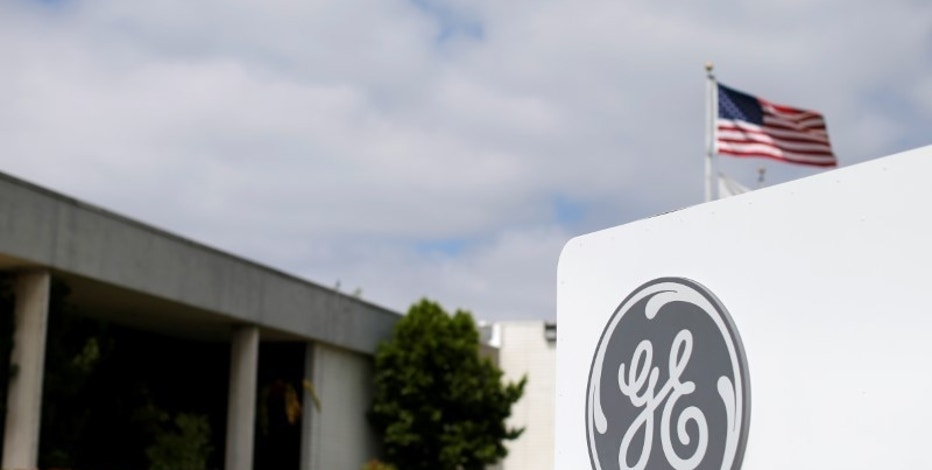 The logo of Dow Jones Industrial Average stock market index listed company General Electric is shown at their subsidiary company GE Aviation in Santa Ana, California April 13, 2016.  REUTERS/Mike Blake