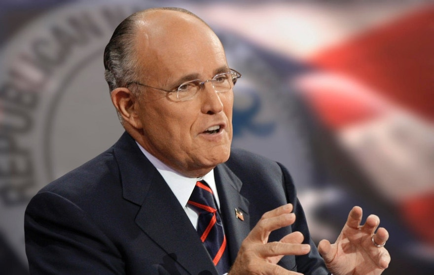 Former New York City Mayor Rudolph W. Giuliani gestures as he speaks at the Republican National Convention in St. Paul, Minn., Wednesday, Sept. 3, 2008.  (AP Photo/Paul Sancya)