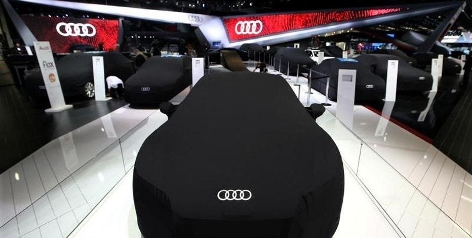 Covered Audi cars are seen during the Sao Paulo International Motor Show in Sao Paulo, Brazil, November 8, 2016.  REUTERS/Paulo Whitaker
