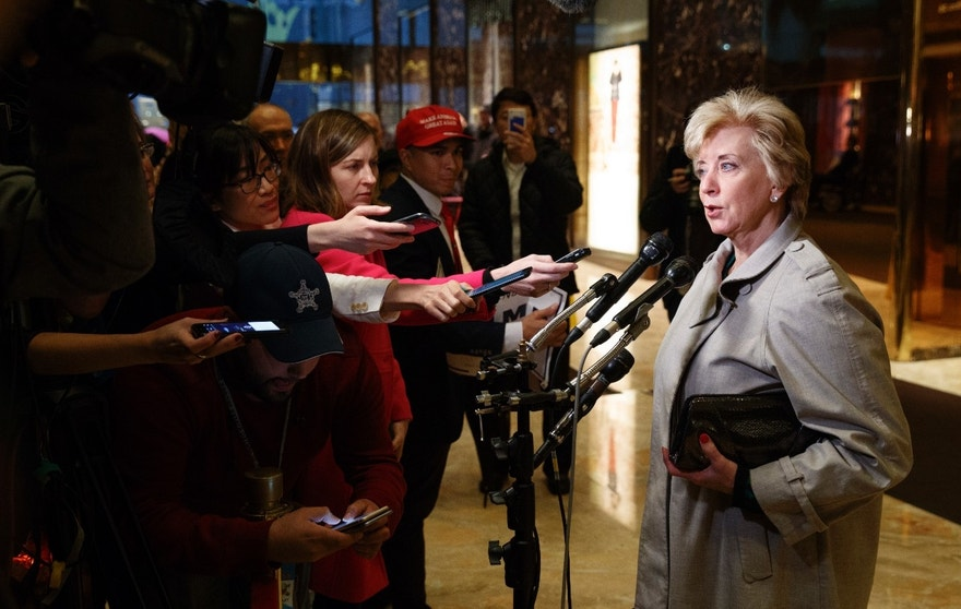 Linda McMahon talks with reporters after a meeting with President-elect Donald Trump at Trump Tower, Wednesday, Nov. 30, 2016, in New York. (AP Photo/Evan Vucci)