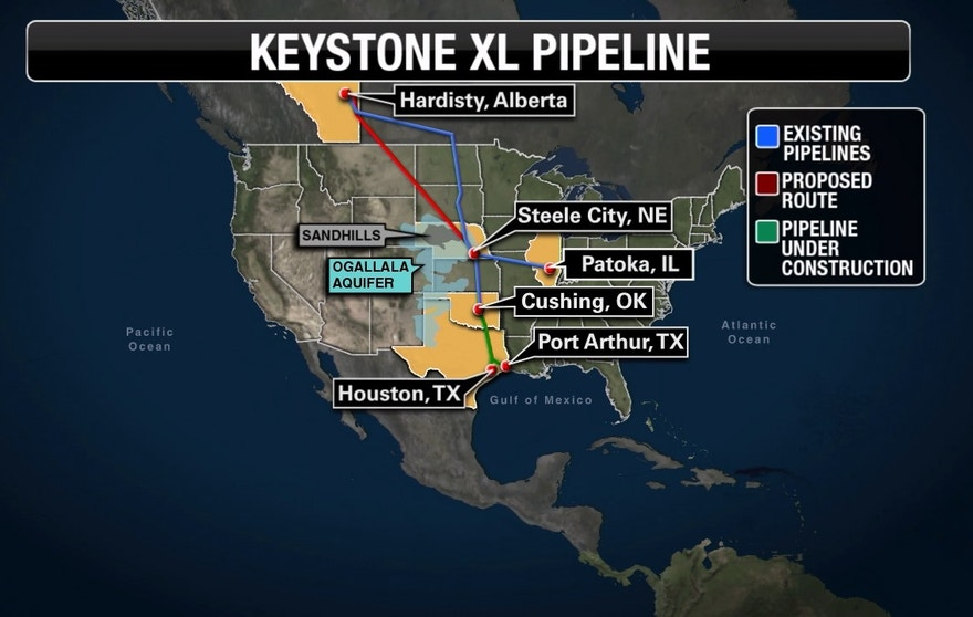 Keystone XL pipeline map FBN