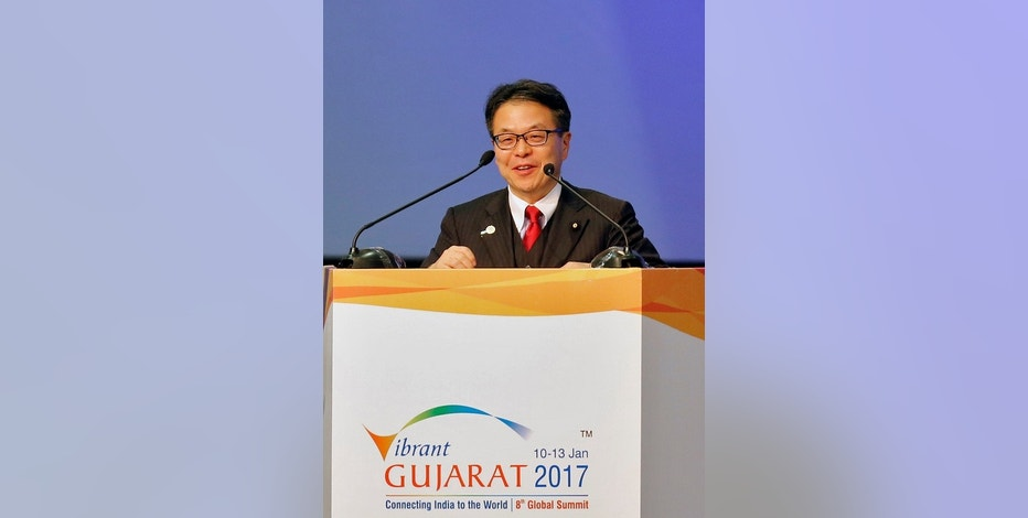 Japan's Minister of Trade and Industry Hiroshige Seko addresses the delegation at the Vibrant Gujarat investor summit in Gandhinagar, January 10, 2017. REUTERS/Amit Dave