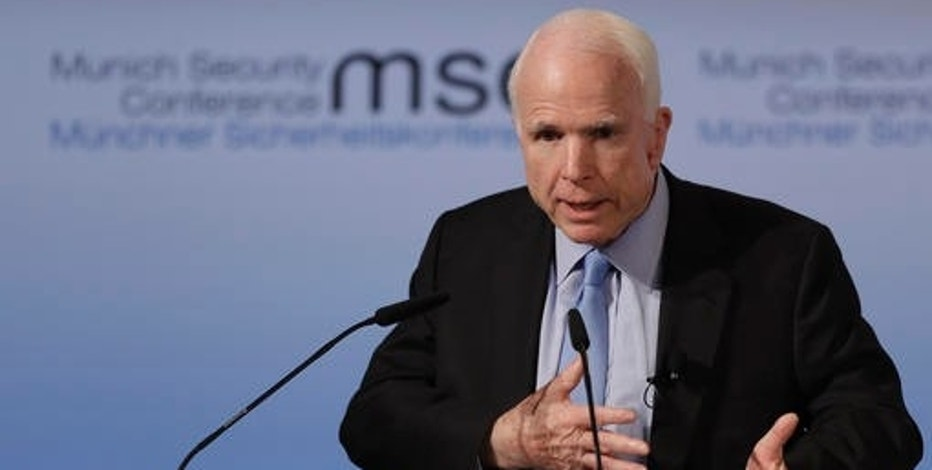 Senator John McCain, R-Ariz., speaks during the Munich Security Conference in Munich, southern Germany, Friday, Feb. 17, 2017. The annual weekend gathering is known for providing an open and informal platform to meet in close quarters. (AP Photo/Matthias Schrader)