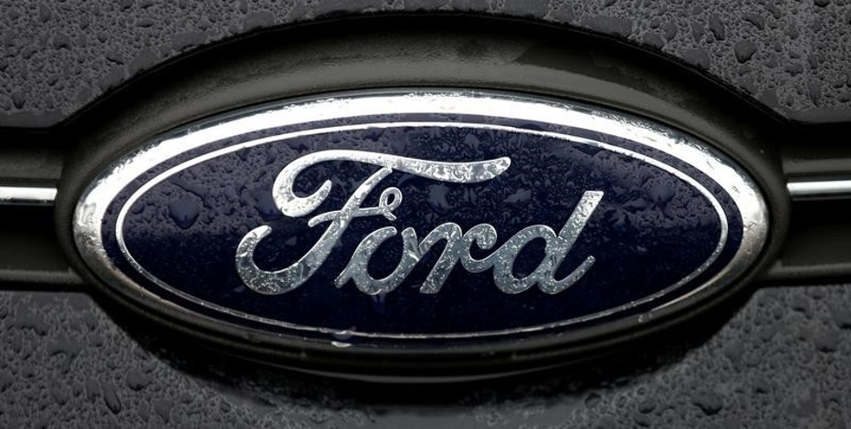 FILE PHOTO - The Ford logo is pictured at the Ford Motor Co plant in Genk,Belgium December 17, 2014. REUTERS/Francois Lenoir/File Photo
