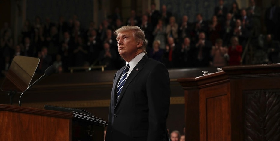 US President Donald J. Trump delivers his first address to a joint session of Congress from the floor of the House of Representatives in Washington, DC, USA, 28 February 2017. Traditionally the first address to a joint session of Congress by a newly-elected president is not referred to as a State of the Union. Credit: Jim LoScalzo / Pool via CNP - NO'WIRE'SERVICE - Photo by: Jim Loscalzo/picture-alliance/dpa/AP Images