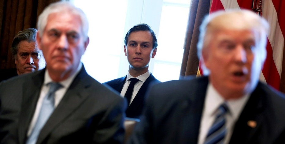 FILE PHOTO: White House advisor Jared Kushner (C) looks on as U.S. President Donald Trump (R), flanked by Secretary of State Rex Tillerson (2nd L), holds a cabinet meeting at the White House in Washington, U.S., March 13, 2017. REUTERS/Jonathan Ernst/Files - RTX32X9B
