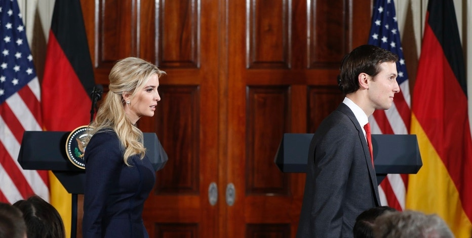 Senior adviser Jared Kushner and his wife Ivanka Trump, left, arrive for news conference with President Donald Trump and German Chancellor Angela Merkel in the East Room of the White House in Washington, Friday, March 17, 2017. (AP Photo/Pablo Martinez Monsivais)