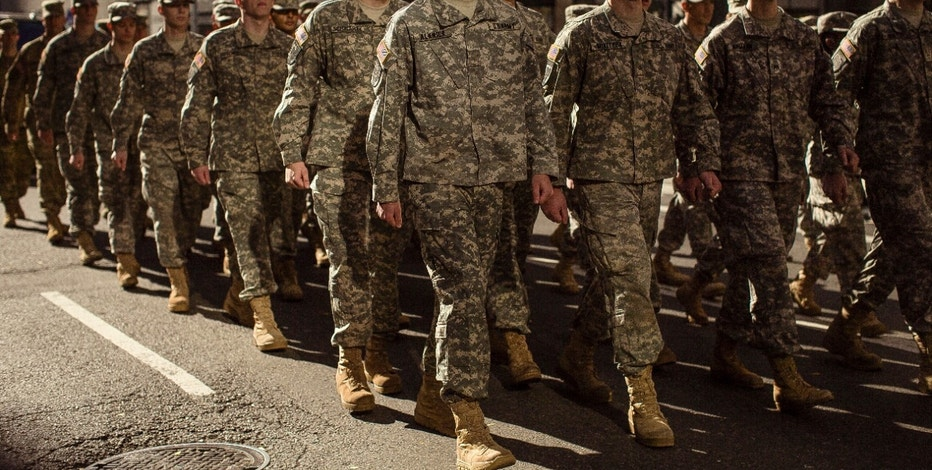 Military personnel march in the annual Veterans Day parade in New York, Friday, Nov. 11, 2016. (AP Photo/Andres Kudacki)