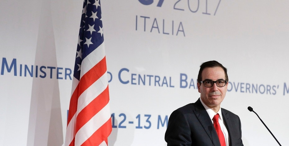 United States Treasury Secretary Steven Mnuchin gives a press conference on the last day of a three-day summit of G7 of finance ministers, in Bari, southern Italy, Saturday, May 13, 2017. (AP Photo/Andrew Medichini)
