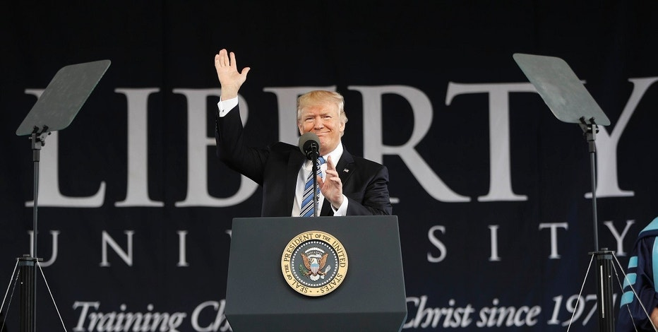 President Donald Trump gives the commencement address for the Class of 2017 at Liberty University in Lynchburg, Va., Saturday, May 13, 2017. (AP Photo/Pablo Martinez Monsivais)