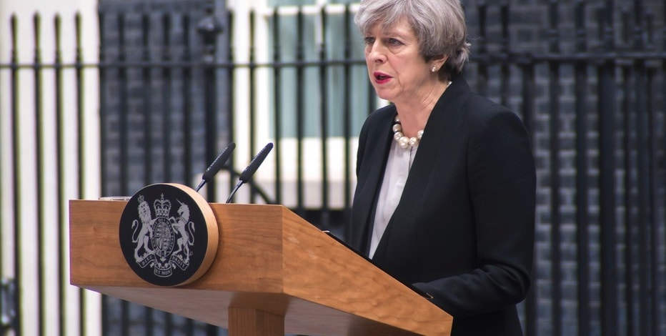 The Prime Minister, Theresa May, is pictured while speaks to the media at Downing Street, following the Manchester terror attack, London on May 23, 2017. An explosion during a concert of Ariana Grande, at Manchester Arena killed 22 people and injured 59. Greater Manchester Police are treating the incident as a terror attack and say that the attacker died in the explosion. (Photo by Alberto Pezzali/NurPhoto) *** Please Use Credit from Credit Field ***(Sipa via AP Images)