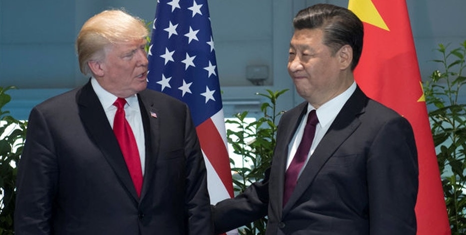 U.S. President Donald Trump and Chinese President Xi Jinping (R) meet on the sidelines of the G20 Summit in Hamburg, Germany, July 8, 2017.