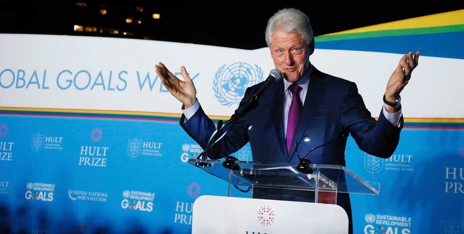IMAGE DISTRIBUTED FOR HULT PRIZE FOUNDATION - Former US President Bill Clinton speaks during the Hult Prize Finals and Awards Dinner 2017 on Saturday, Sept. 16, 2017, at the United Nations headquarters. (Jason DeCrow/Hult Prize Foundation via AP Images)