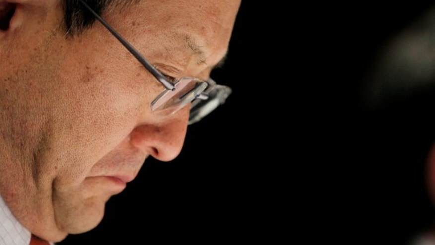 Feb. 5:  Toyota president Akio Toyoda reacts during a news conference in Nagoya, Japan.