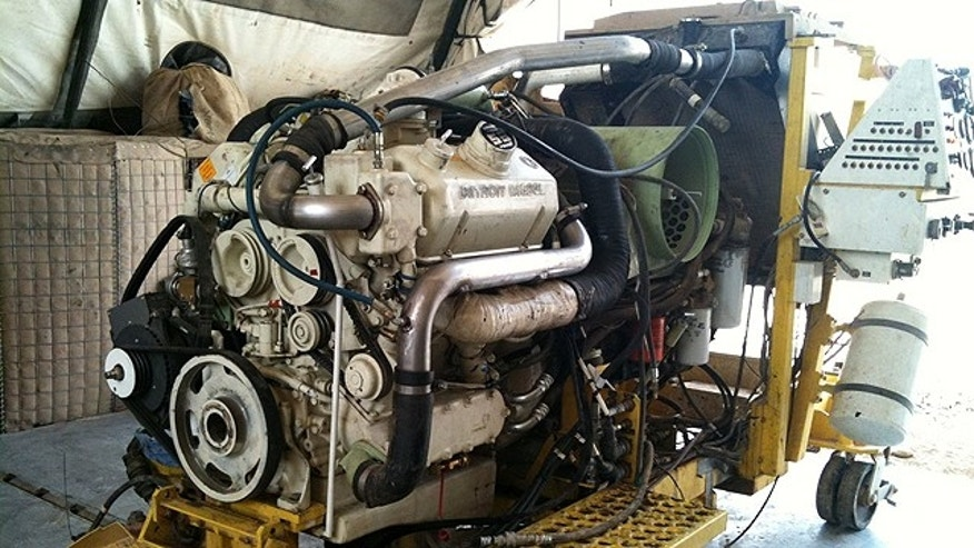 The Detroit Diesel engine from a LAV-LOG light armored vehicle