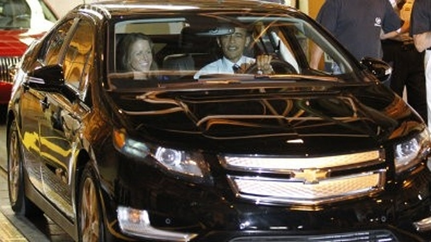 President Obama behind the wheel of the Chevy Volt in July, 2010