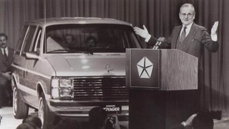 Chrysler Chairman Lee Iacocca introduces the 1984 Plymouth Voyager