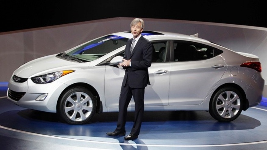 Hyundai Motor America President & CEO John Krafcik introduces the 2013 Hyundai Elantra during the media preview of the Chicago Auto Show at McCormick Place  in Chicago on Wednesday, Feb. 8, 2012. (AP photo/Nam Y. Huh)