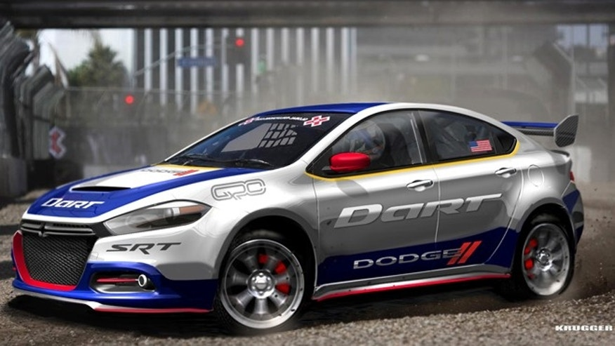 Rendering of 2013 Dodge Dart rally car that will be driven by Travis Pastrana in the 2012 Global RallyCross Championship Series.