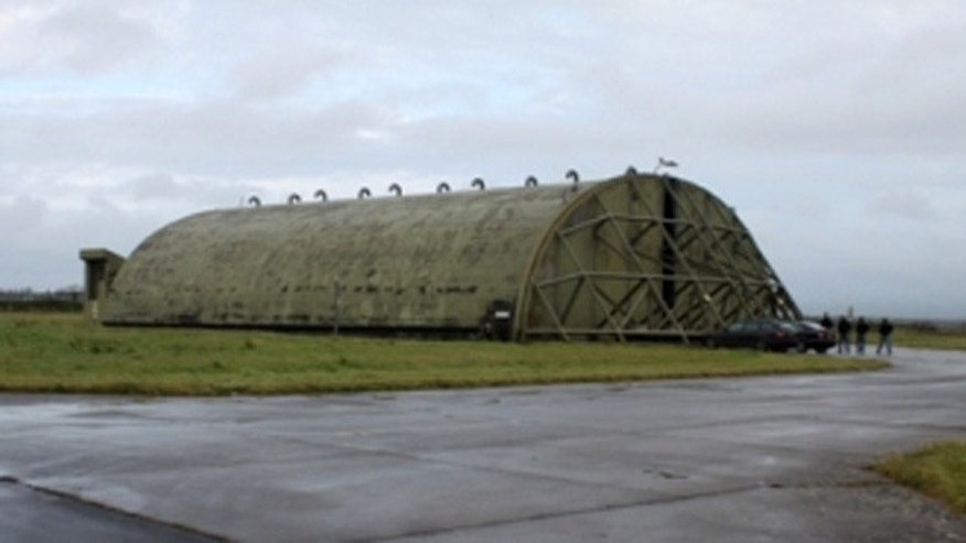 Hardened aircraft shelter at Newquay Cornwall Airport.