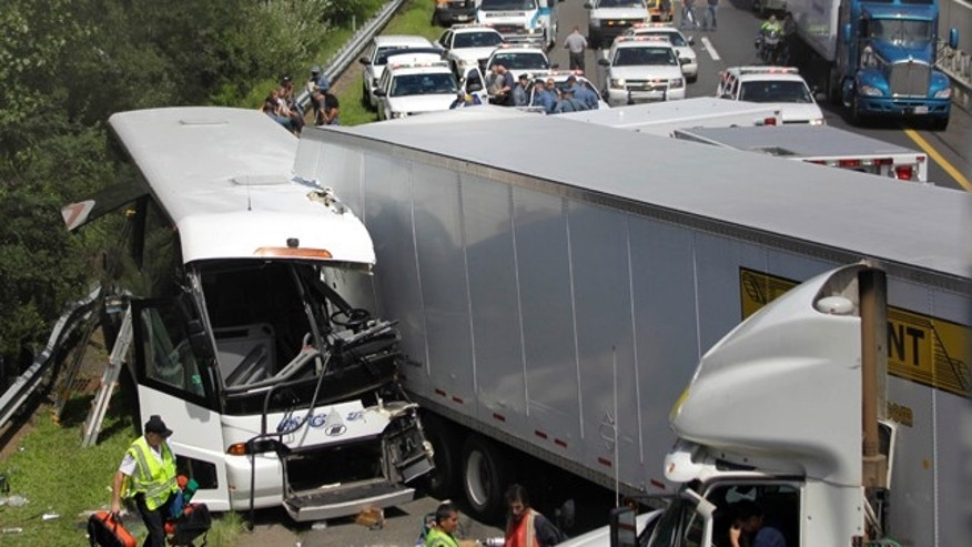 Aug. 24: A tour bus on the New Jersey Turnpike collided with a tractor trailer in South New Brunswick, N.J.