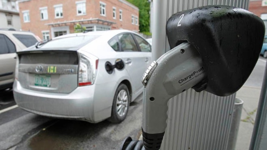 One of the biggest impediments to establishing a market for electric cars is the lack of charging stations, like this one in Montpelier, Vt. (AP Photo/Toby Talbot)