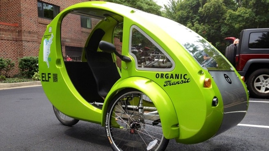 July 24, 2013: This photo shows the Organic Transits ELF bike in a parking lot in Reston, Va. (AP/Valerie Bonk)