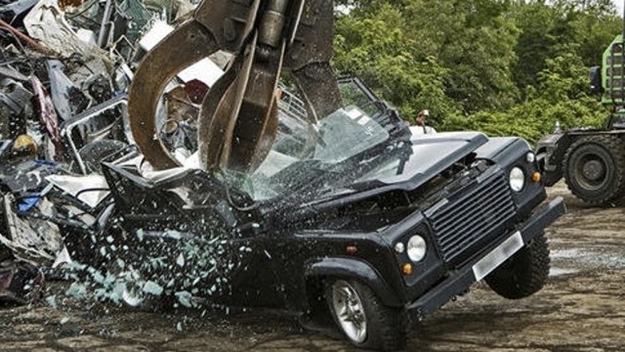 The Land Rover Defender, no longer offered for sale in the U.S. due to crash safety and emissions regulations, could not survive the crusher of the U.S. Customs and Border Protection.