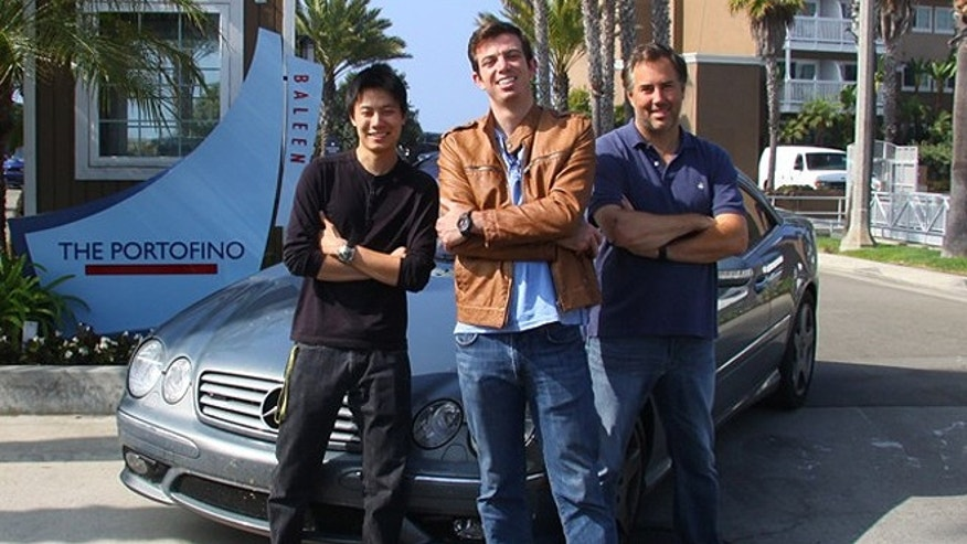 Using a souped-up 2004 Mercedes-Benz CL55 AMG, Bolian, center, co-driver Dave Black, right, and support passenger Dan Huang left New York City at 9:55 p.m. on Oct. 19. The trio later arrived at the Portofino Hotel and Marina in Redondo Beach, Calif., at 11:46 p.m. local time on Oct. 20. (Courtesy: Ed Bolian)