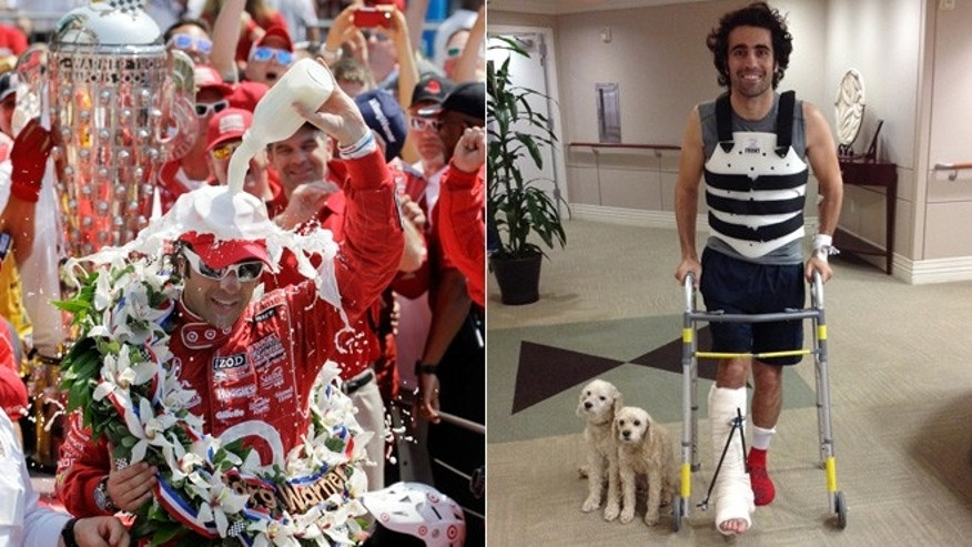 Franchitti celebrates winning the 2013 Indy 500 in May/With his dogs at Memorial Hermann-Texas Medical Center in Houston on Oct. 10