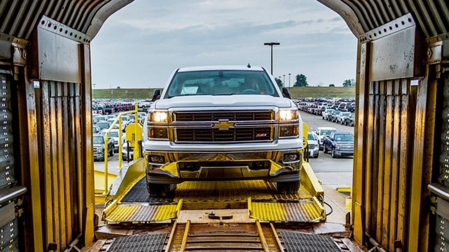 A 2014 Chevrolet Silverado being shipped from GM's Fort Wayne, Indiana factory.