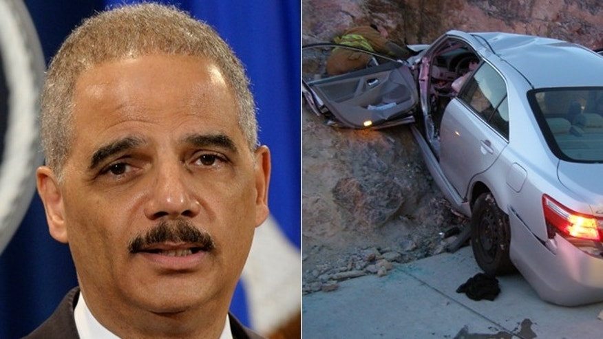 Attorney General Eric Holder, left, announces a $1.2 billion settlement with Toyota over its disclosure of safety problems/Nov. 5, 2010 file photo, right, released by the Utah Highway Patrol, a Toyota Camry is shown after it crashed as it exited Interstate 80 in Wendover, Utah. Police suspect problems with the Camry's accelerator or floor mat caused the crash that left two people dead and two others injured.