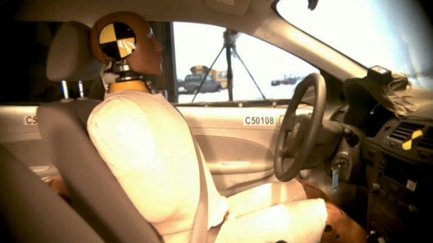This undated image taken from video shows the National Highway Traffic Safety Administration ( NHTSA) crash test of a  2005 General Motors Cobalt.