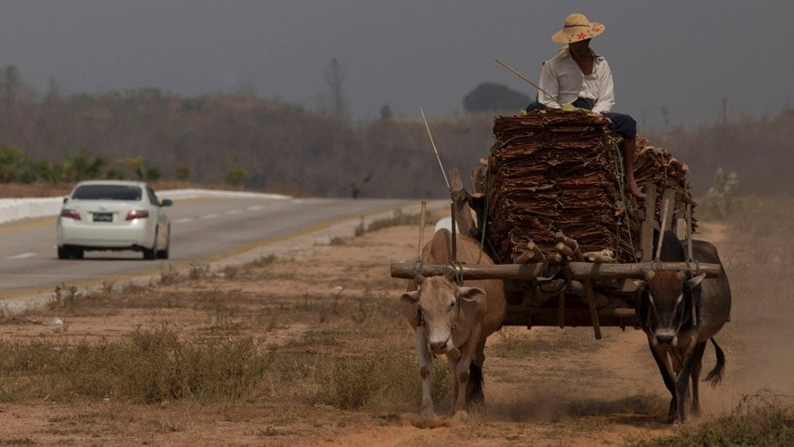 In this March 29, 2013 photo, a car travels in the highway that connects Yangon to capital Naypyidaw as a cart pulled by bulls carry a load in a parallel gravel track, close to Toungoo, north of Yangon, Myanmar. Vehicles are still out of the reach of all but a few in Myanmar, where annual incomes average $200. (AP Photo/Gemunu Amarasinghe)
