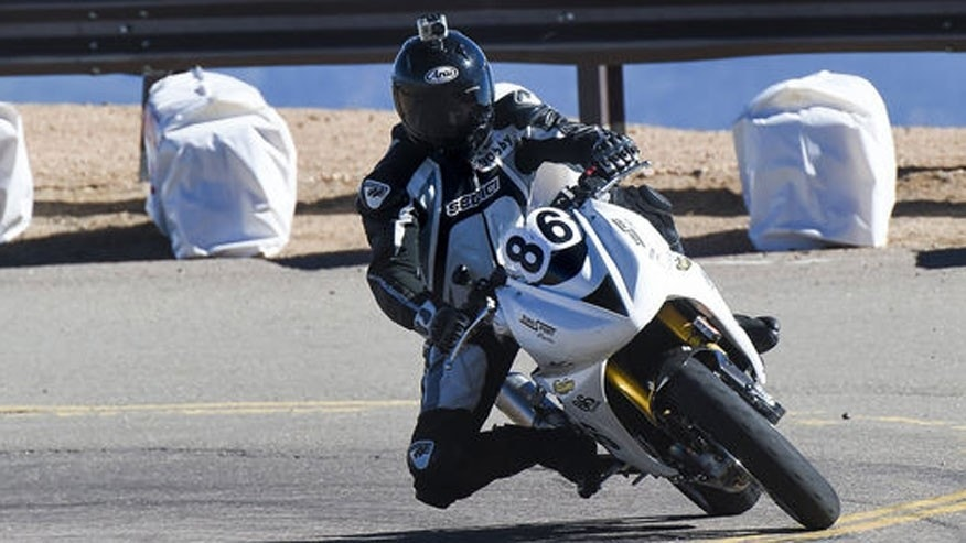 Bobby Goodin rounds a corner near the end of the Pikes Peak International Hill Climb.