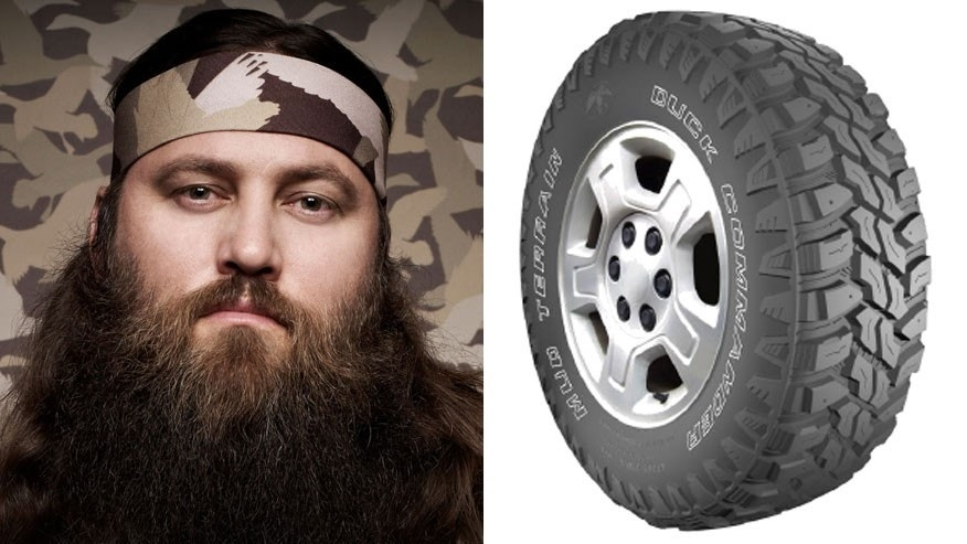 Willie Robertson/Rendering of Duck Commander tire - actual product not depicted