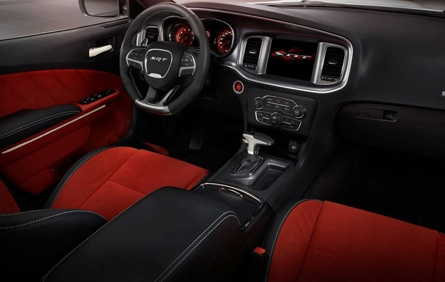 2015 Dodge Charger SRT Hellcat (shown in Ruby Red Alcantara suede/black leather) – passenger seat view