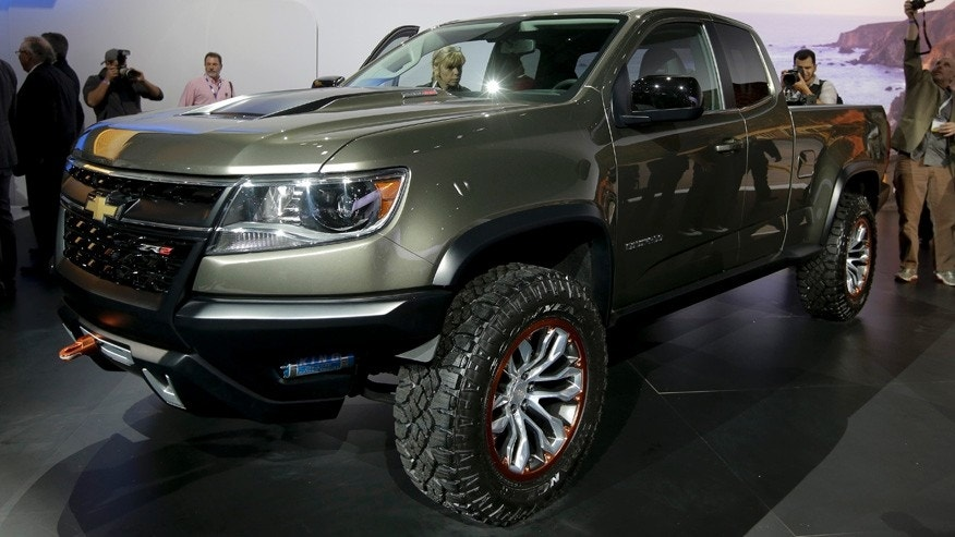 The Chevrolet Colorado ZR2 off-road concept truck is revealed during the Los Angeles Auto Show on Wednesday, Nov. 19, 2014, in Los Angeles. The annual event is open to the public beginning Nov. 21. (AP Photo/Chris Carlson)