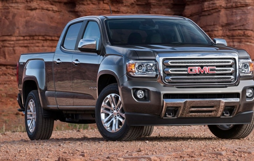 2015 GMC Canyon SLT Crew Cab Long Bed Front Three Quarter in Bronze Alloy Metallic