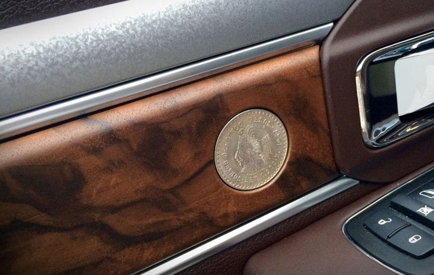 2015 Ram 1500 Texas Ranger Concept truck -  walnut wood trim door panel with coins and galvanized spear