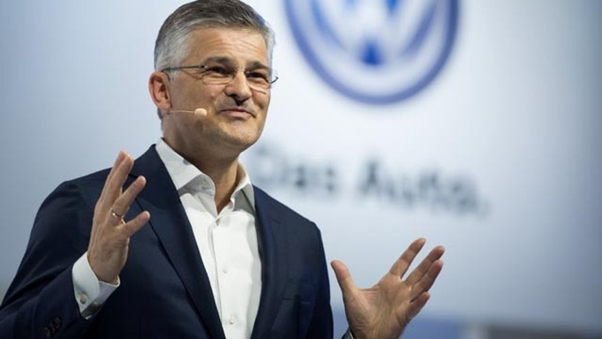 FILE - In this Sept. 21, 2015 file photo, President and CEO of Volkswagen Group of America, Inc. Michael Horn speaks at the Brooklyn Navy Yard in New York. (AP Photo/Kevin Hagen, File)