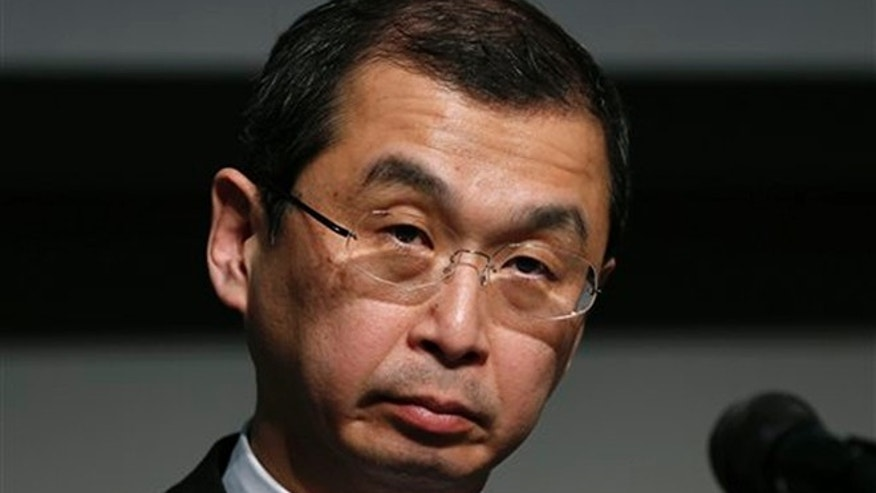FILE - In this June 25, 2015, file photo, Japanese air bag maker Takata Corp. CEO Shigehisa Takada listens to a reporter's question during a news conference in Tokyo.  (AP Photo/Shuji Kajiyama)