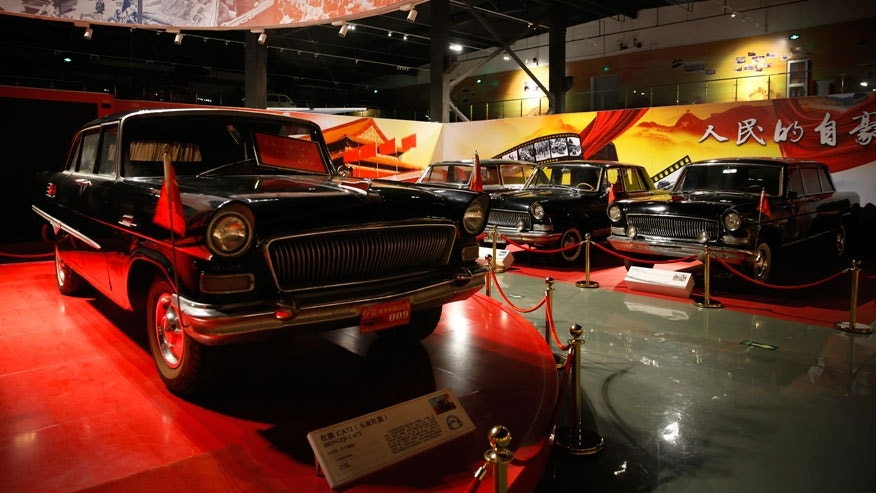 Red Flag car models collected by Luo Wenyou are displayed at his private museum in Huairou district of Beijing.