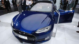 A Tesla Model S is on display on the first press day of the Frankfurt Auto Show IAA in Frankfurt, Germany.