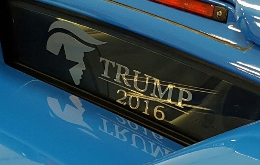 Trump Lamborghini window