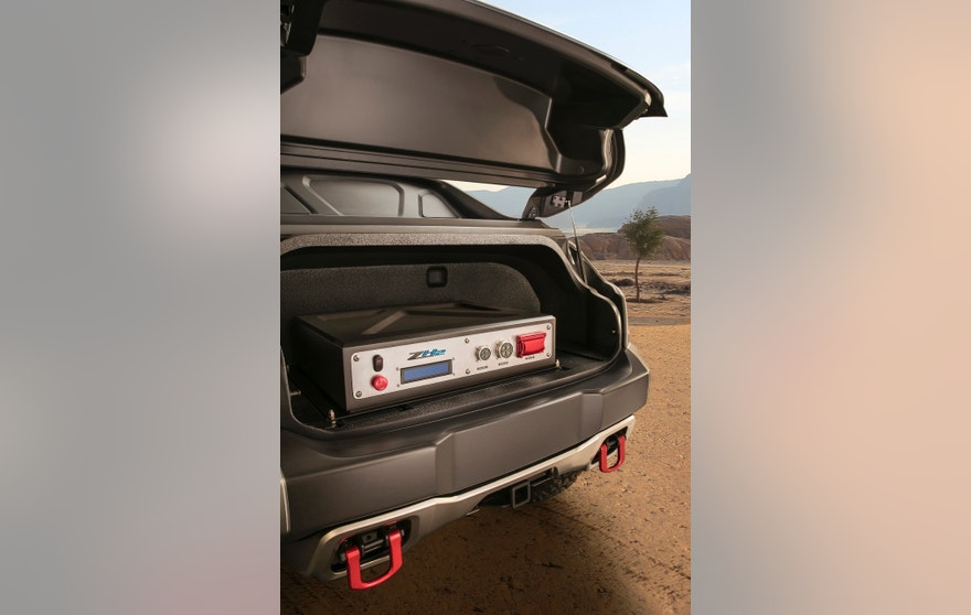 Inside the rear hatch of the Chevrolet Colorado ZH2 fuel cell electric vehicle is an Electric Power Takeoff unit, capable of providing 25kw of consistent electric power away from the vehicle, such as remote locations where electric power may otherwise be unavailable.