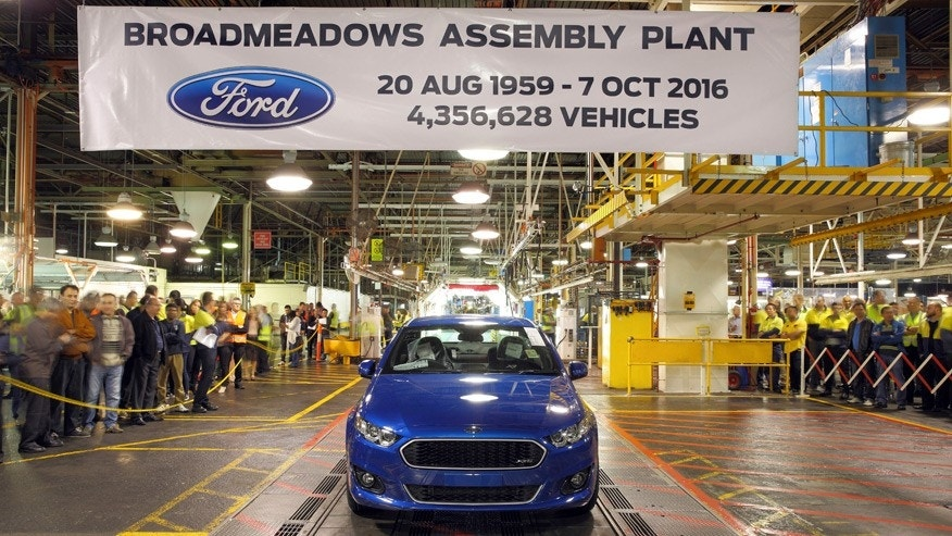 The last Ford Falcon rolls off the assembly line at the Broadmeadows factory